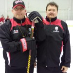 Mentoring student Ted Monnich (Right) from South Carolina together with Jukka Ropponen at GoaliePro camp 2014